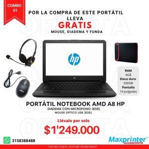 combo 01 portátil con mouse diadema y funda venta de comutadores e impresoras en colombia bucramanga