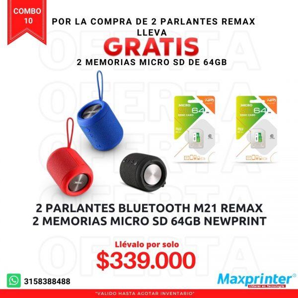 combo 10 parlantes remax y memorias micro sd de 64gb colombia