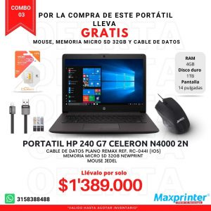 combo 03 portatil hp mouse memoria miro sd 32gb cable de datos colombia bucaramanga