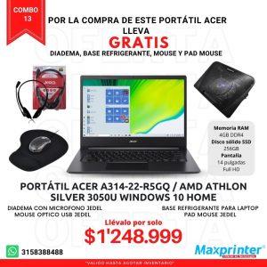 Combo 13 portatil acer base refrigerante para laptop mouse pad mouse diadema con microfono